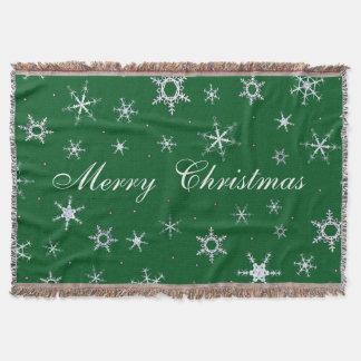 Frohe Weihnacht-Grün-Schneeflocken Decke
