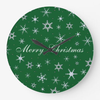 Frohe Weihnacht-Grün-Schneeflocken Große Wanduhr