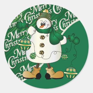 Frohe Weihnacht-Grün-Schneemann Runder Aufkleber