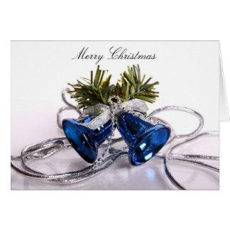 Frohe Weihnacht-Gruß-Karte mit blauen Bell Karte