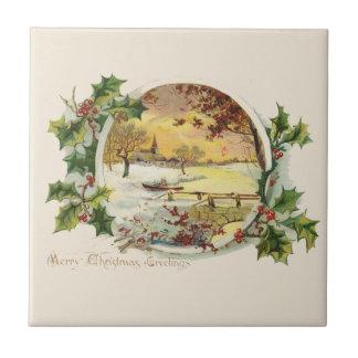 Frohe Weihnacht-Grüße Vintag Keramikfliese