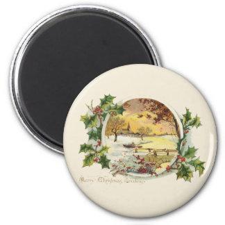 Frohe Weihnacht-Grüße Vintag Runder Magnet 5,1 Cm