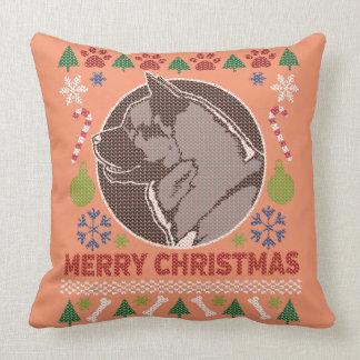 Frohe Weihnacht-hässliche Strickjacke Akitas Kissen