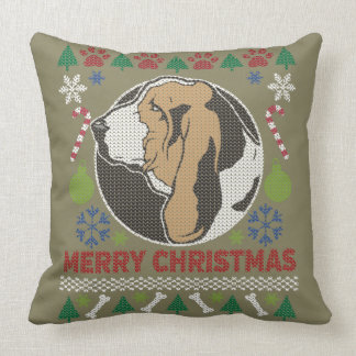 Frohe Weihnacht-hässliche Strickjacke Basset Kissen