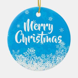 Frohe Weihnacht-helles blaues Keramik Ornament