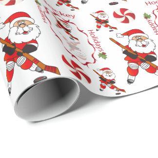Frohe Weihnacht-Hockey Weihnachtsmann Geschenkpapier