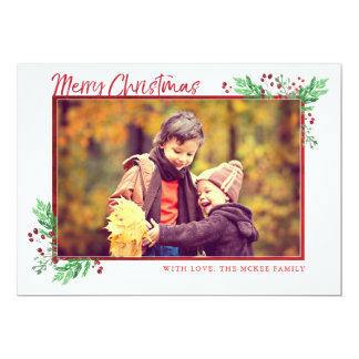 Frohe Weihnacht-Immergrün und Karte