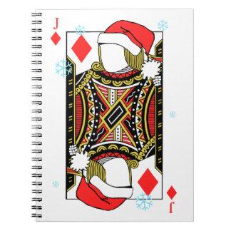 Frohe Weihnacht-Jack der Diamanten - addieren Sie Spiral Notizblock