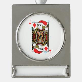Frohe Weihnacht-Jack der Diamanten Banner-Ornament Silber