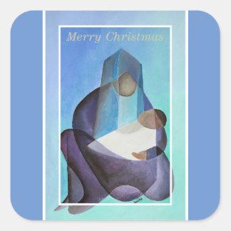 Frohe Weihnacht-Jungfrau Mary und Kind Quadratischer Aufkleber
