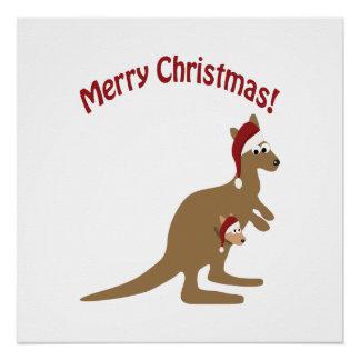 Frohe Weihnacht-Kängurus Poster