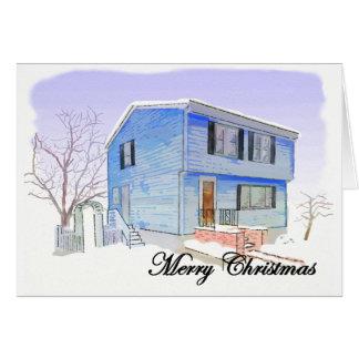 Frohe Weihnacht-Karte (Haus im Schnee) Karte