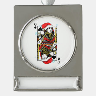 Frohe Weihnacht-Königin der Spaten Banner-Ornament Silber