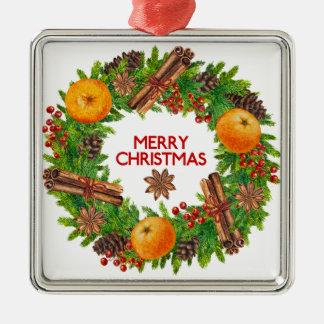 Frohe Weihnacht-Kranz-immergrüne Aquarell-Frucht Silbernes Ornament