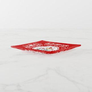 Frohe Weihnacht-Kranz u. weißer Kronen-Rahmen Dekoschale