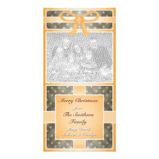Frohe Weihnacht-kundenspezifische Foto-Orange Foto Grußkarte