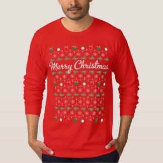 Frohe Weihnacht-langes Hülsen-Rot-T-Shirt T-Shirt