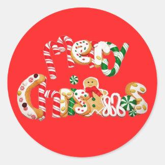 Frohe Weihnacht-Lebkuchen u. Zuckerstange Runder Aufkleber