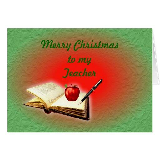 frohe weihnacht lehrer weihnachten mit buch apfel karten. Black Bedroom Furniture Sets. Home Design Ideas