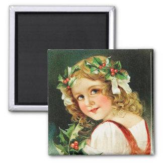 Frohe Weihnacht-Mädchen-Vintager Magnet Quadratischer Magnet