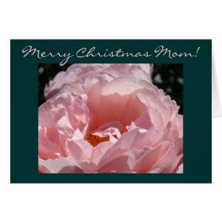 Frohe Weihnacht-Mamma! Rosa Rosen-Blumen-Karten