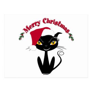 Frohe Weihnacht-Miezekatze-Katze Postkarte