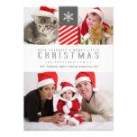 Frohe Weihnacht-moderne Streifen-Feiertags-Foto-Ka Personalisierte Ankündigungskarte