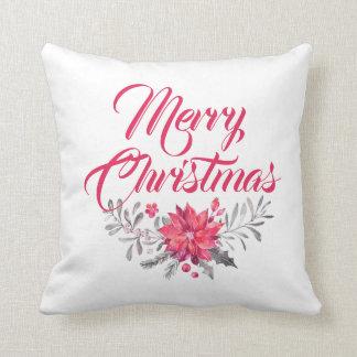 Frohe Weihnacht-moderne Typografie u. Blumen Kissen