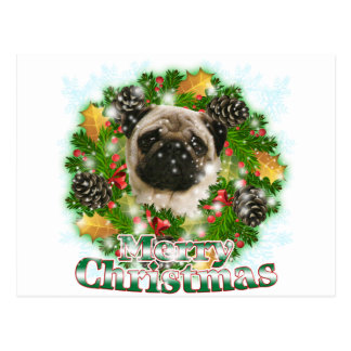 Frohe Weihnacht-Mops Postkarte