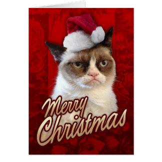 Frohe Weihnacht-mürrische Katze Grußkarte