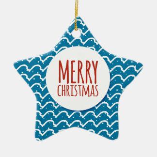 Frohe Weihnacht-nahtlose Keramik Stern-Ornament