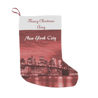 Frohe Weihnacht-New- York CitySkyline Kleiner Weihnachtsstrumpf