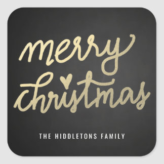 Frohe Weihnacht-niedliche handgeschriebene Quadratischer Aufkleber