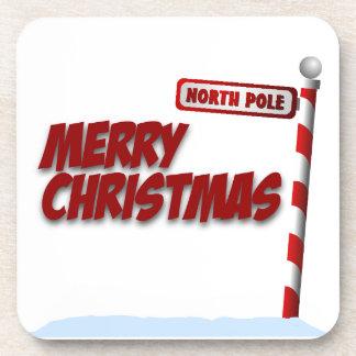 Frohe Weihnacht-Nordpol-Untersetzer Getränk Untersetzer