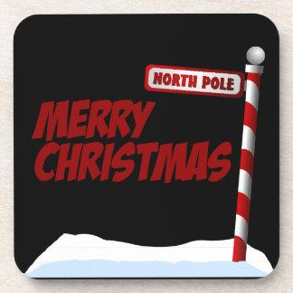 Frohe Weihnacht-Nordpol-Untersetzer