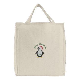 Frohe Weihnacht-Penguin gestickte Taschen-Tasche