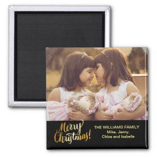 Frohe Weihnacht-personalisiertes Familien-Foto Quadratischer Magnet