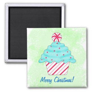 Frohe Weihnacht-Pfefferminz-Kuchen-Kunst-Grün Quadratischer Magnet
