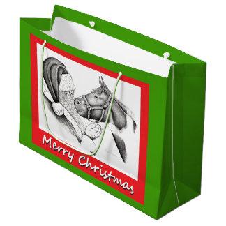 Frohe Weihnacht-Pferd und Weihnachtsmann Große Geschenktüte