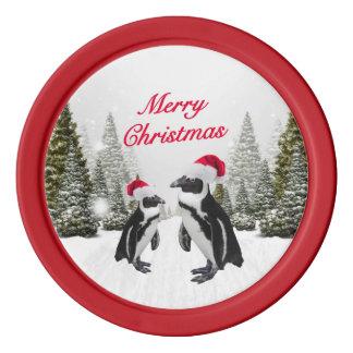 Frohe Weihnacht-Pinguine im Schnee Poker Chips Set