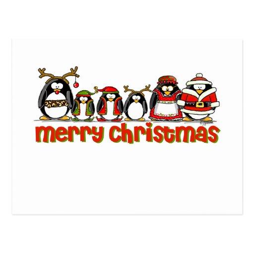 Frohe Weihnacht-Pinguine Postkarten