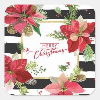 Frohe Weihnacht-Poinsettias, schwarze Quadratischer Aufkleber