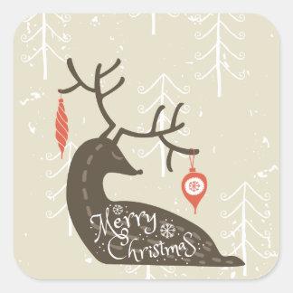 Frohe Weihnacht-Ren gemütlich Quadratischer Aufkleber