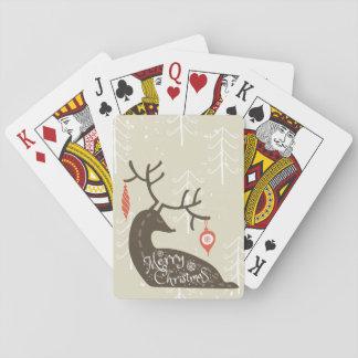 Frohe Weihnacht-Ren gemütlich Spielkarten