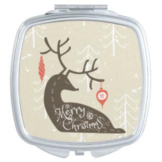 Frohe Weihnacht-Ren gemütlich Taschenspiegel
