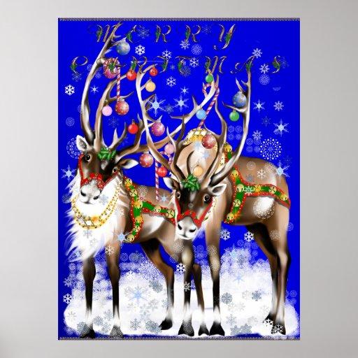 Frohe Weihnacht-Ren-Plakat