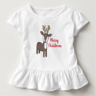 Frohe Weihnacht-Ren-Rüsche-Shirt Kleinkind T-shirt