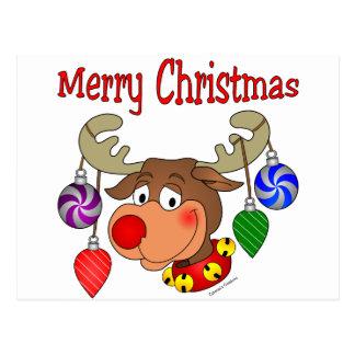 Frohe Weihnacht-Ren-Verzierungen Postkarte