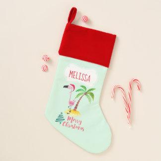 Frohe Weihnacht-Rosa-Flamingo mit Palme Weihnachtsstrumpf