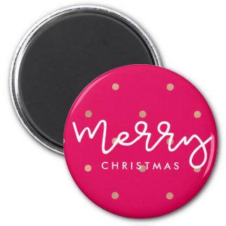 Frohe Weihnacht-Rosa mit Goldblick-Punkten Runder Magnet 5,1 Cm
